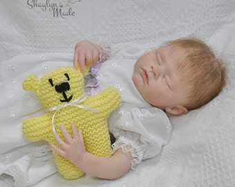 Yellow Knitted Teddy Bear 15cm