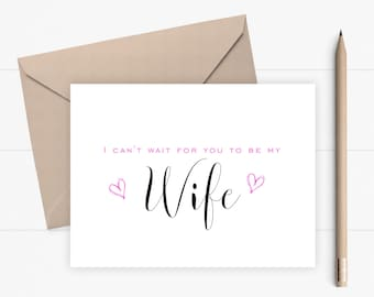 Wife Wedding Card I Can't Wait For You To Be My Wife Proposal Card Wedding Card for Wife Asking Card