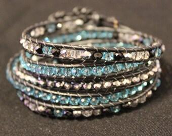 Blue swarovski crystal leather 5 wrap bracelet