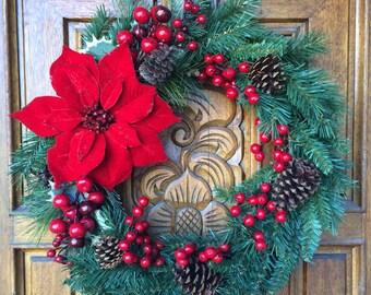 Festive Poinsettia Wreath / Winter Wreath / Poinsettia Wreath / Christmas Wreath / Holiday Wreath / Pine Wreath / Red and Green Wreath