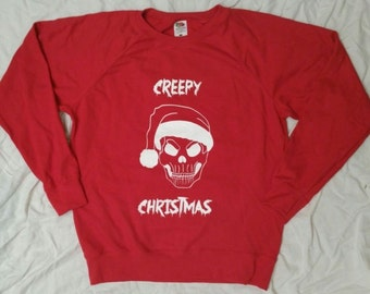 Creepy Christmas - Christmas - sweater - creepy - ladies - red - rockabilly - psychobilly - skull - Santa Hat - skull