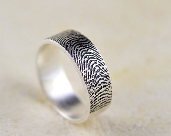20%offL:Actual Fingerprint Ring, Wedding Band,990  Sterling Silver Engraving 4mm-6mm