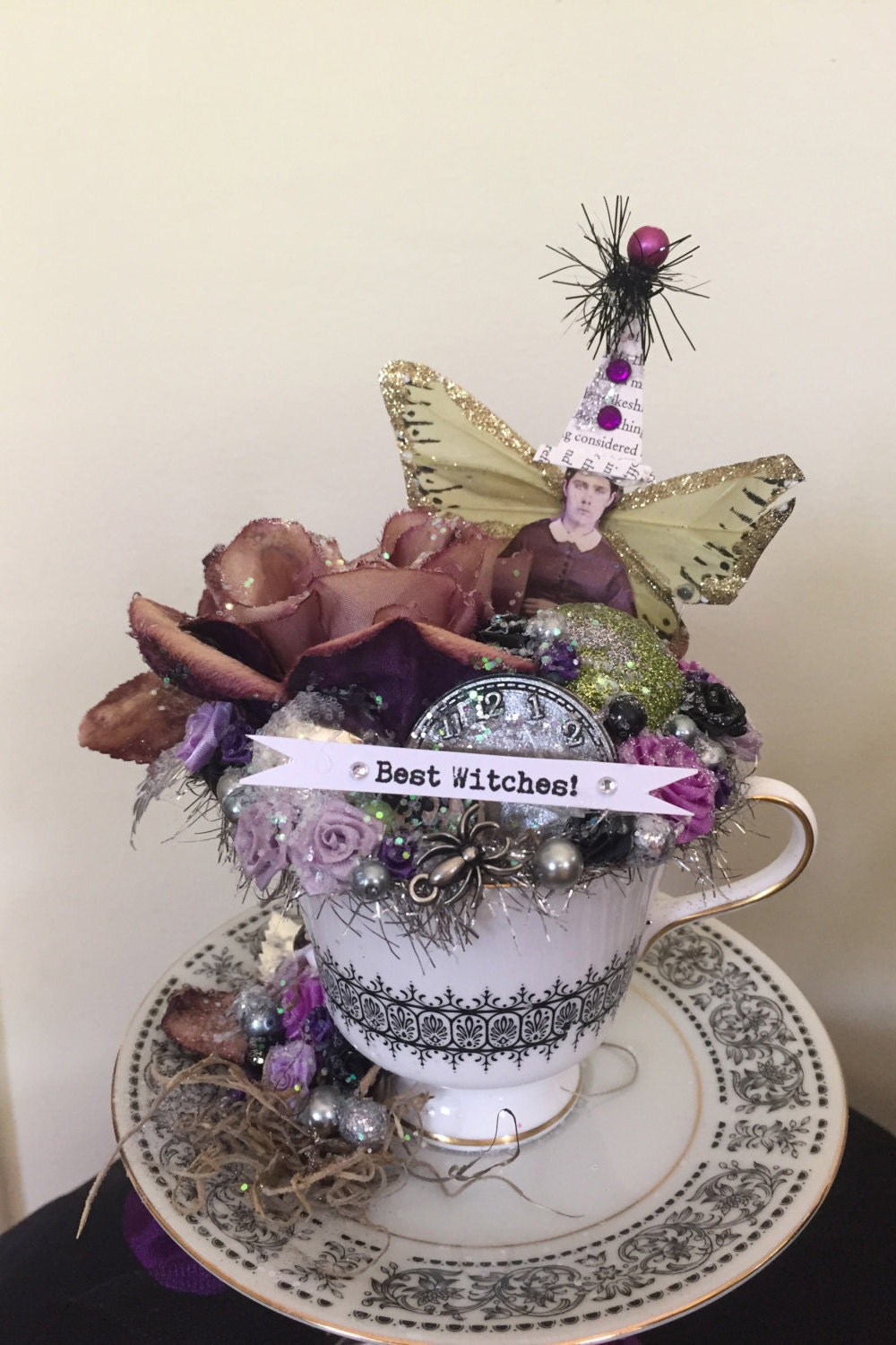 Halloween Vintage Inspired Altered Art Shabby Decoration With