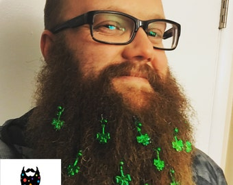 St Patrick's Day - Beard Ornaments with Mini Clips - Beard Baubles by Beardaments - Pack of 12