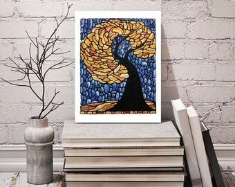 Autumn Tree Print - For Your Wall Art - Abstract Tree Image - Bedroom Art - Home Decor - 8 x 10 inch - Hand Signed by Artist Kathy Lycka