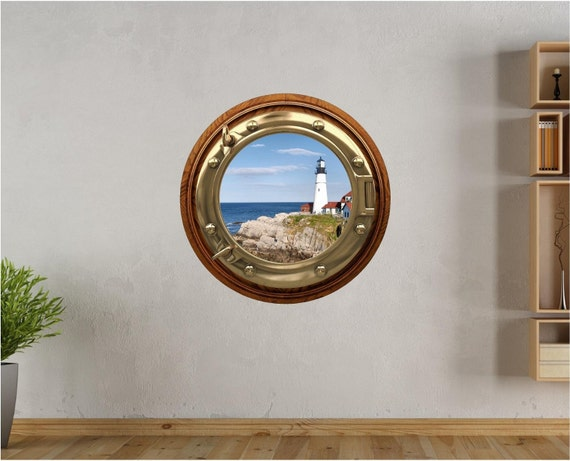 Port Scape Lighthouse #2 Porthole Wall Sticker Graphic Decal Instant Sea Window View Kids Game Room Decor Art NEW
