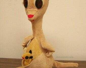 Vintage Dream Pets plush toy - R. Dakin & Co. of Japan - Mama Kangaroo with Joey