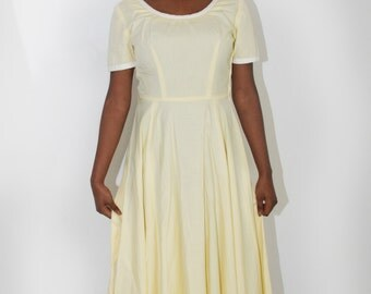 1950s prom dress | vintage yellow party dress | full skirt size S | rockabilly retro | Spring Summer wedding