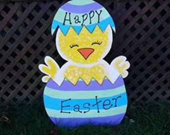 Easter Egg with Chick Yard Art Display