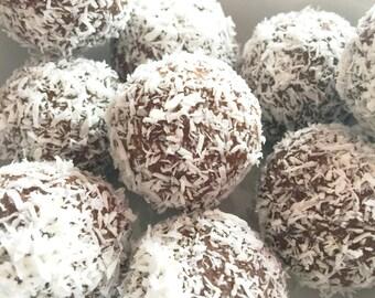 Macadamia Chocolate Coconut Truffles Organic Raw Vegan Gluten Free Low Carb Low Sugar
