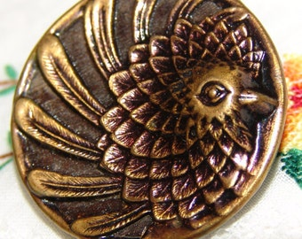 Charming Antique Large Brass Button ~ Bird Chicken Hen Rooster Picture Button ~ Very Artistic Flowing Art Nouveau Style ~ In High Relief ~