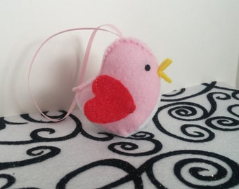 Pink and Red Felt Valentines Day Bird Ornament