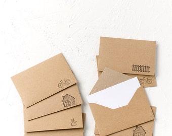 10 Tiny Vintage Style Kraft Paper Envelopes with White Inserts, Invitations, Business Card Envelopes, Favor Envelopes, Birthday,Wedding