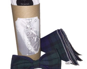 Blackwatch Tartan Bespoke Bow Tie and Pocket Square Set