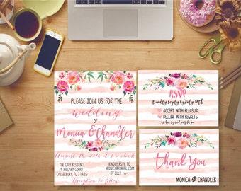 Wedding Invitation Printable Floral Bridal Print Digital Bridal Invites Kit Custom Watercolor Modern Peonies - BS2