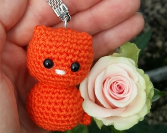 Crochet amigurumi cat keychain, miniature kitten