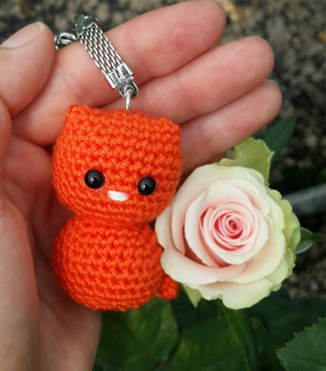 Crochet amigurumi cat keychain miniature kitten