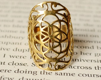 Seed of life tribal ring, sacred geometry, size 7, 7.5 (Medium)