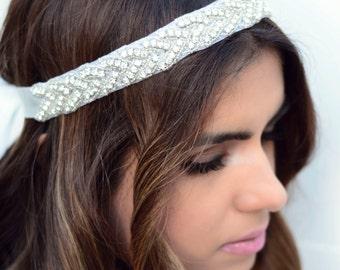 The Devon - Silk Beaded White Ribbon Bridal Headband with Rhinestone Appliqué Wedding Hair Accessory Headpiece Wreaths Fascinator Silver