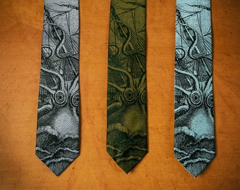 Octopus Necktie - Kraken Tie - Men's Necktie - Birthday Gift Men - Nice Tie - Men's Gift - Ocean - Screen Printed