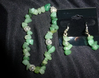 Aventurine chip bracelet and earring set