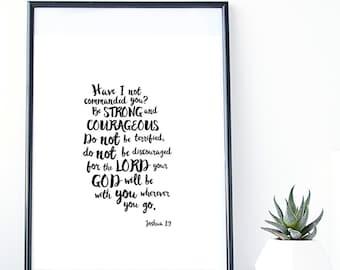 Joshua 1:9, Art Print, Wall Art, Nursery Print, Bible Verse, Scripture Art