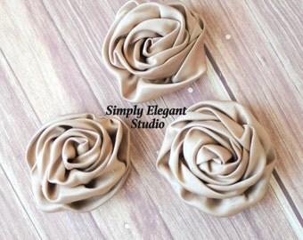 Tan Rolled Satin Flowers, Fabric Flowers, Headband Flowers, DIY Craft Supply Flowers