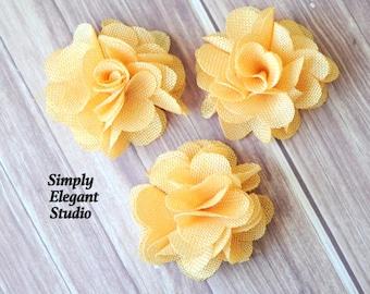 Yellow Burlap Flower, Headband Flower, DIY Craft Flowers, Wholesale Flowers