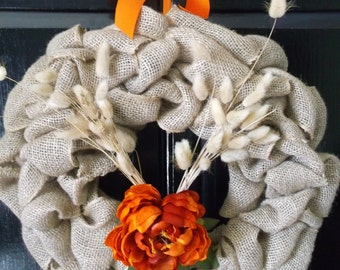 Burlap Wreath with Peony Flower, Thanksgiving, Burlap wreaths, Peony Flower,