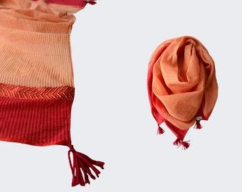 Red Orange Stripe Scarf