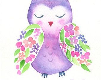 Floral Owl Original Art - Woodland Watercolor Painting - 5 x 7 - Baby Nursery Art