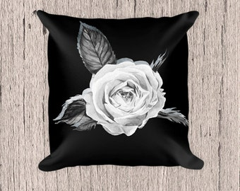Black White Rose Pillow,Rose, Black Pillow,Decorative Pillow, White and black Pillow,  Pillow, Pillow case, Pillow, Flowers, Flower pillow,
