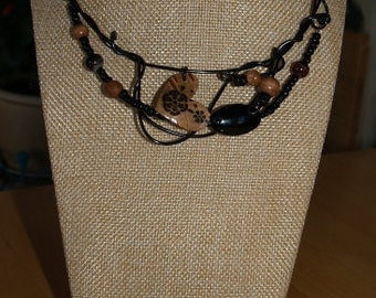 Bark heart necklace, black wire