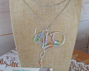 Necklace long heart, silver, pastel, button