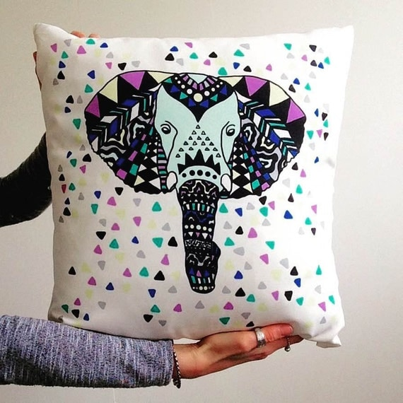 Elephant Pillow Decorative Pillow Travel Pillow by craftedbycrooks