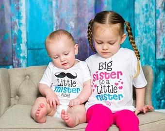 Big Sister Shirt SET Little Mister Sibling Personalized Big Sister Big Brother Shirts bodysuit SET Mustache Hearts