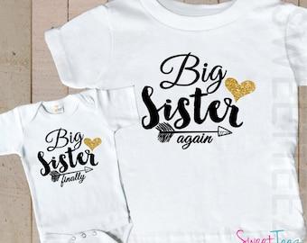 Glitter Shirt SET Big Sister Again Big Sister Finally Sibling Shirts Gold Glitter bodysuit SET