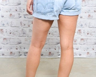 90s Vintage Levis Denim Shorts High Waisted Levi Shorts Pale Blue W31""