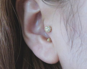 10K Solid Gold piercing/Pave CZ ball Piercing/Helix piercing/cartilage earring/Tragus earring/CZ piercing/Ball piercing/Ear Jacket/Cartilage