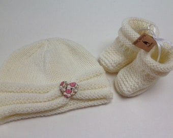 Cream Baby Hat and Booties Set - 0-3 Months