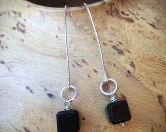 Black Crystal, Cube, Dangle,  Earrings