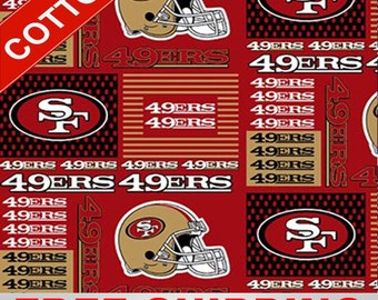 """San Francisco 49ers Cotton Fabric NFL Style SANF-6434 60"""" Wide. Free Shipping"""