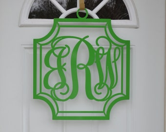 Metal monogram door hanger, monogram wreath, metal monogram, personalized door wreath, front door monogram,  three initial door hanger