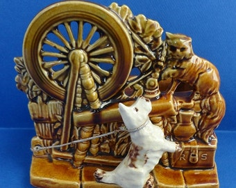 Vintage McCoy Pottery Planter Spinning Wheel With Dog And Cat