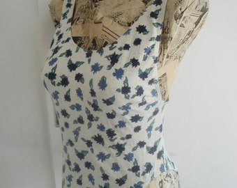 Vintage 90s Floral Cotton Swimsuit