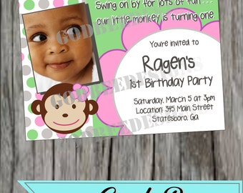 Lil Monkey Birthday Invitation