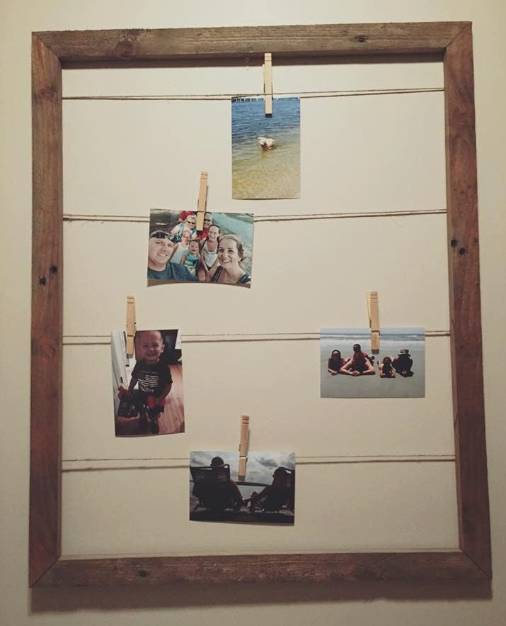 rustic photo frame collage pallet wood photo display clothes pin photo collage display