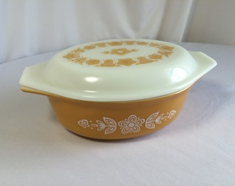 Vintage Pyrex Golden Butterfly Casserole Dish, 1.5 Quart, Oval Pyrex Bowl, 043 ReaonsBecause