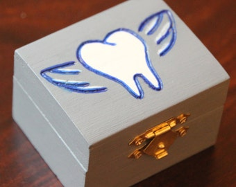 Grey Tooth Fairy Box! Tooth fairy keepsake box, tooth storage, gift box