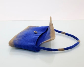 Blue and camel Felt Eco Friendly Hand Bag in 100% Pure Merino Wool